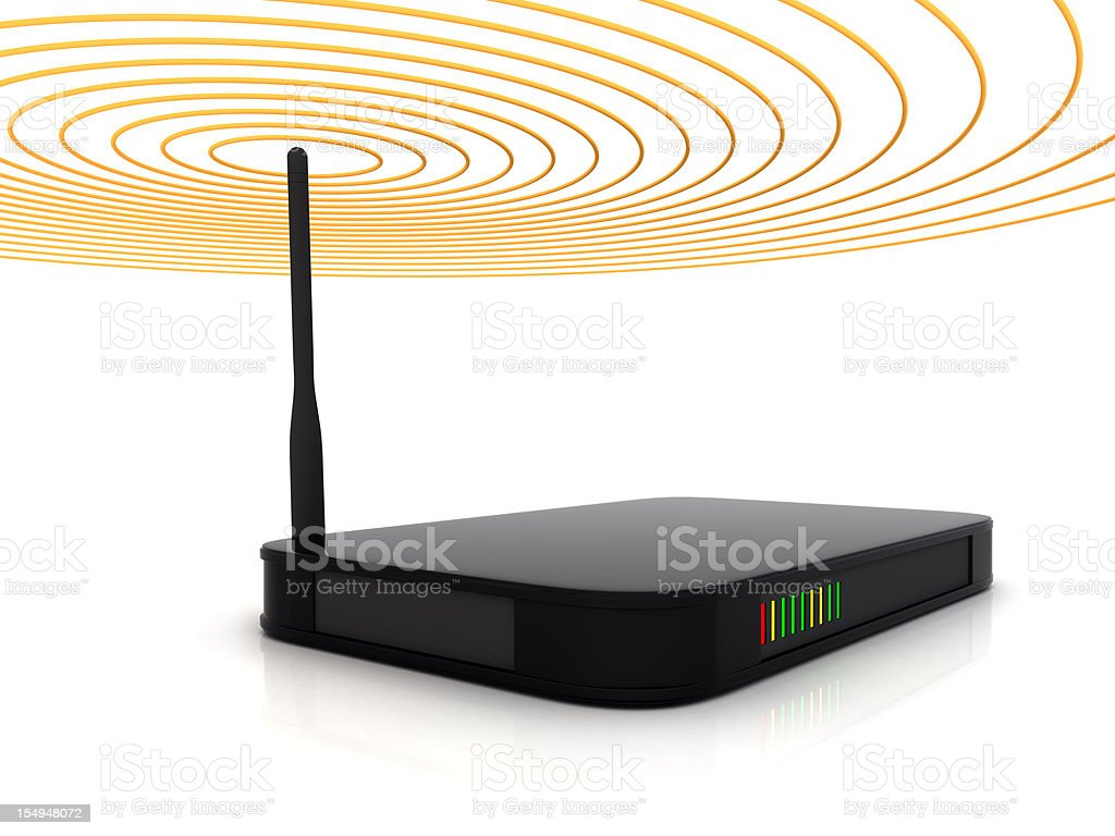 A wireless router showing signal beams  stock photo