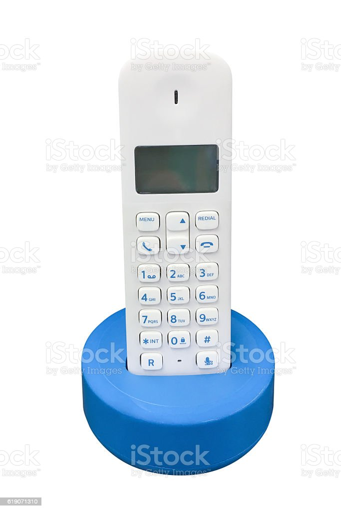 wireless telephone isolated on white background stock photo