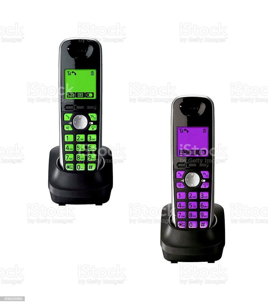 Wireless telephones with cradle isolated stock photo