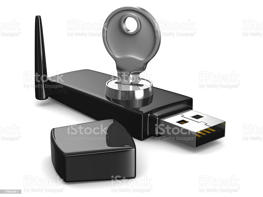 wireless USB modem on white background. Isolated 3D image stock photo