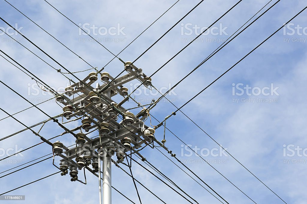 Wires Against a Blue Sky with Clouds stock photo