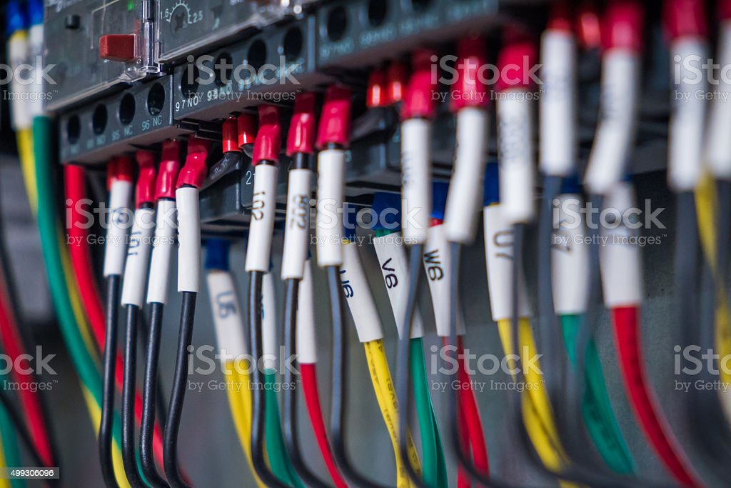 Wires and  industrial electrical control panel stock photo