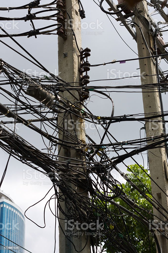Wires in Bangkok royalty-free stock photo