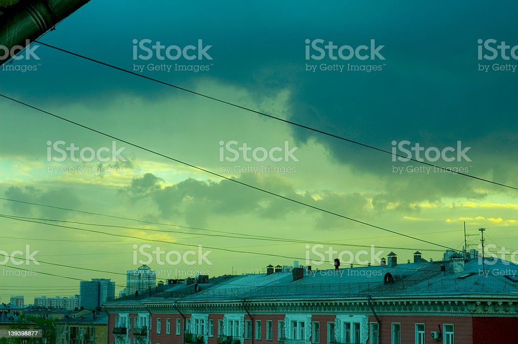 Wires line the sky royalty-free stock photo