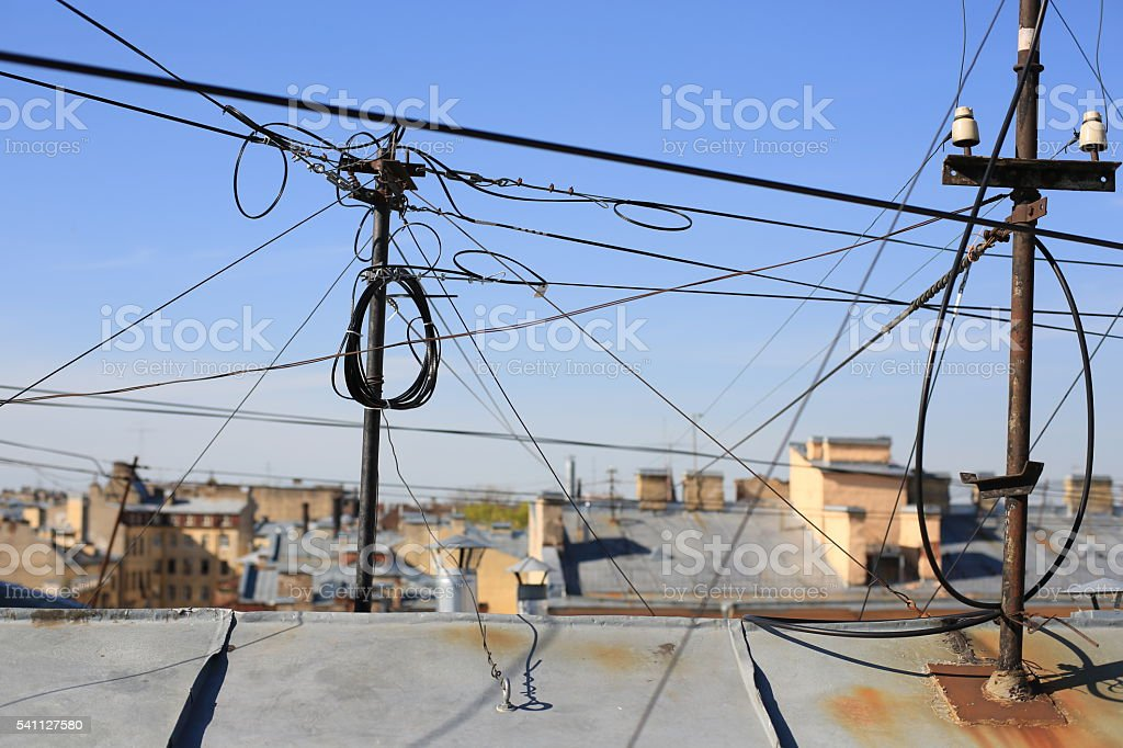 wires on the roof. St. Petersburg stock photo