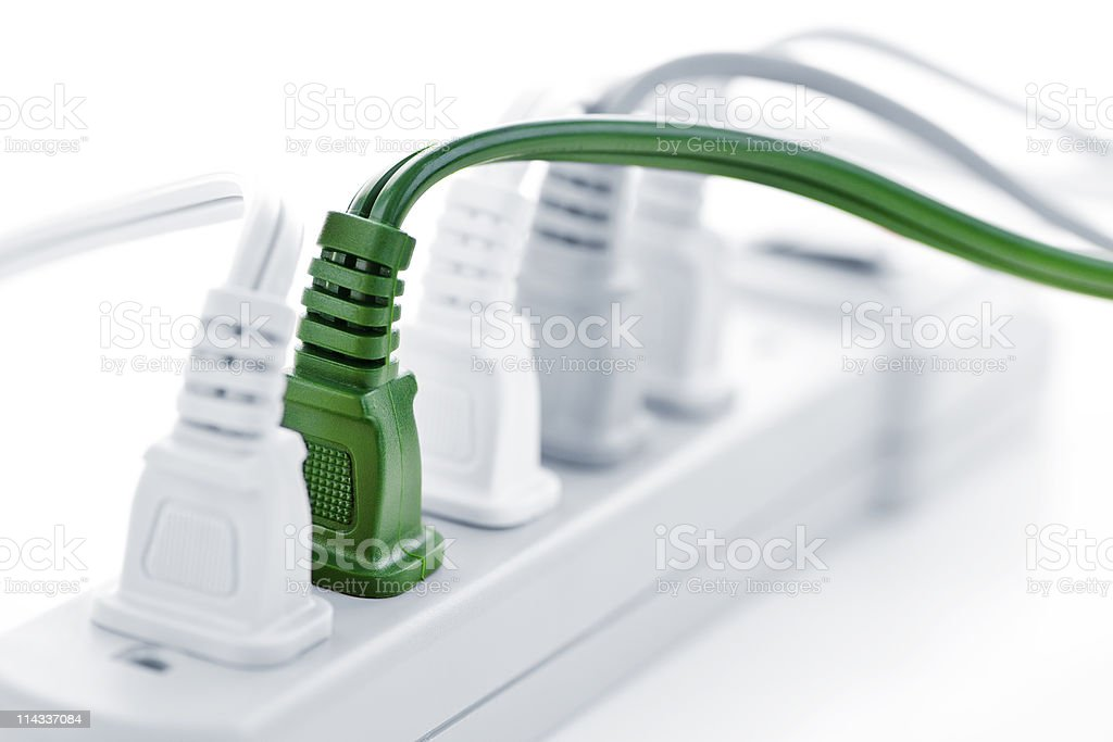 Wires plugged into power bar stock photo