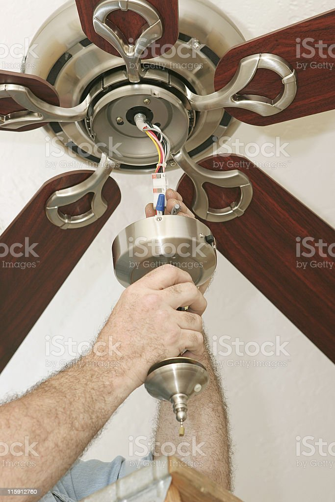 Wiring Ceiling Fan stock photo