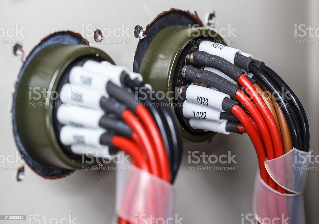 Wiring -- Control panel with wires stock photo