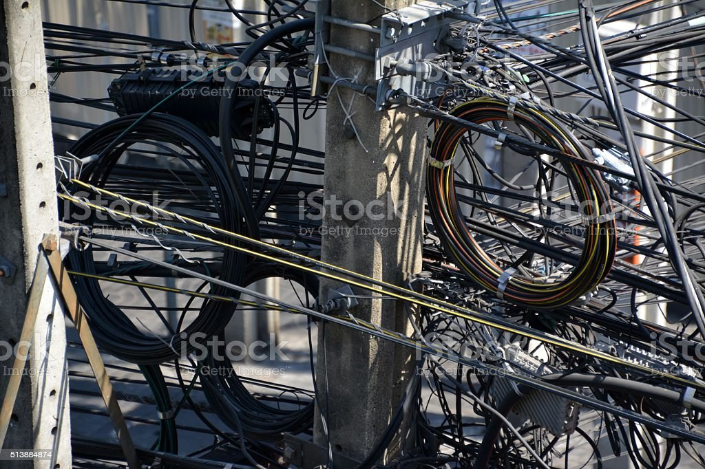 Wiring in Bangkok, Thailand stock photo