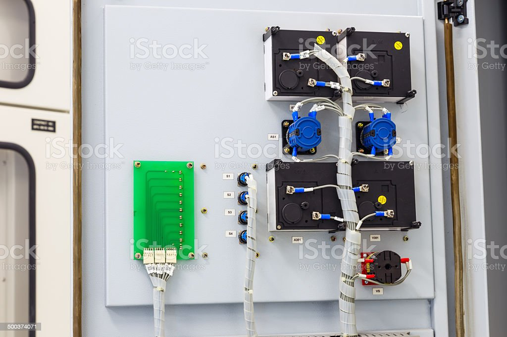 Wiring of electric swich and board stock photo