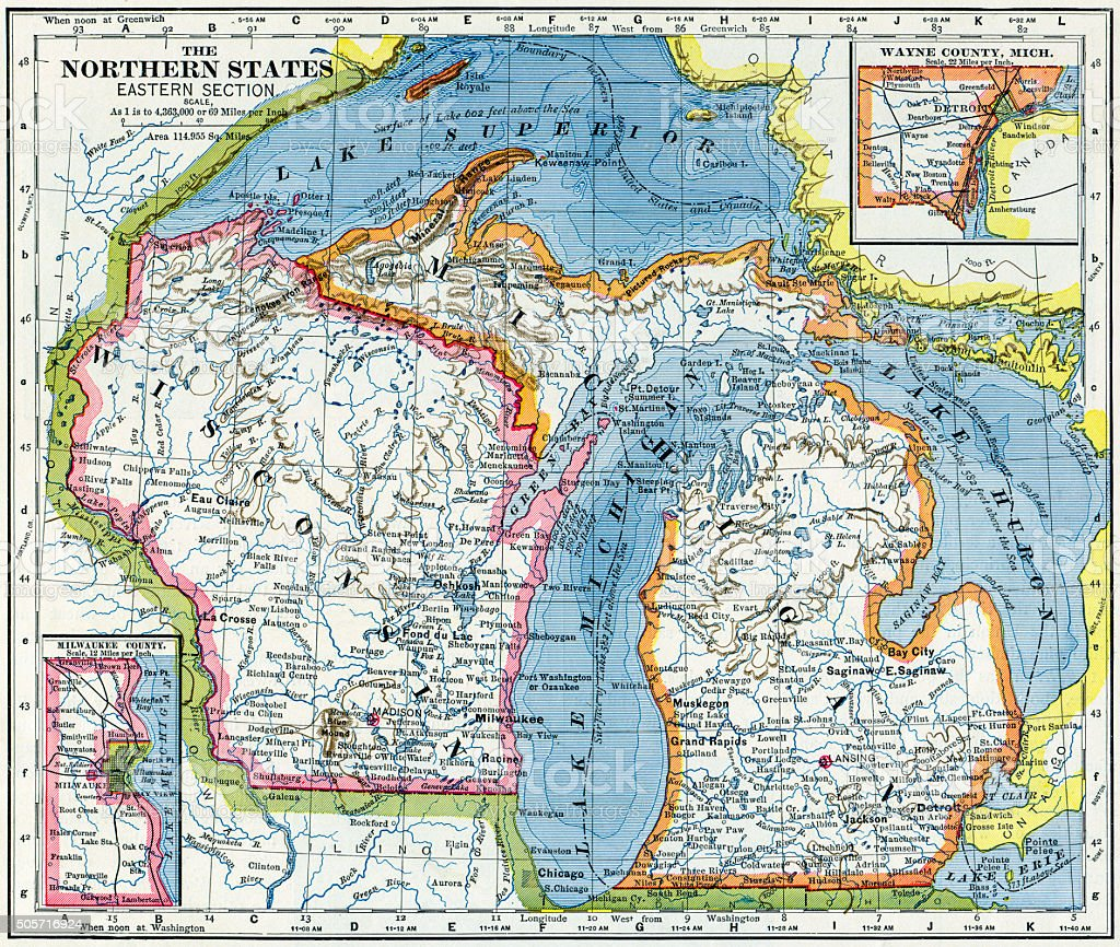 Wisconsin And Michigan Map 1883 stock photo