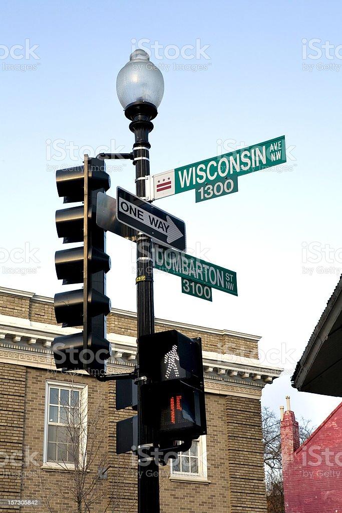 Wisconsin Avenue Street Sign Georgetown Washington DC stock photo