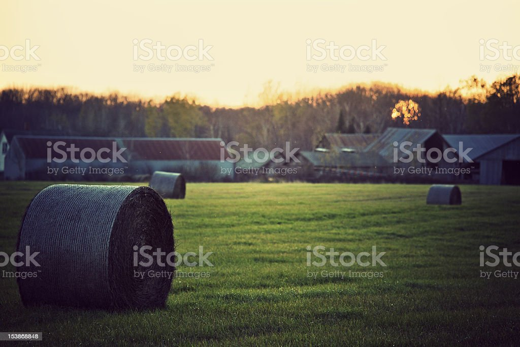 Wisconsin Farm at sunset. royalty-free stock photo