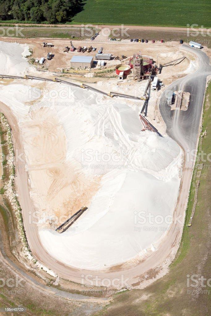 Wisconsin Frac Sand Mine Piles Aerial View stock photo
