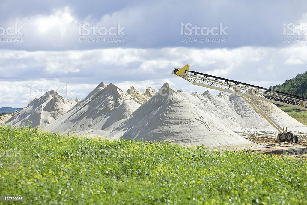 Wisconsin Frac Sand Mine Piles stock photo