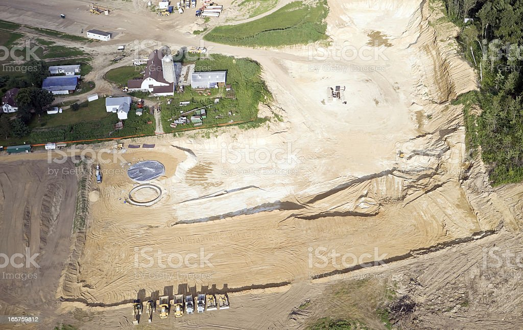 Wisconsin Frac Sand Mining Operation Surrounds a Farm stock photo