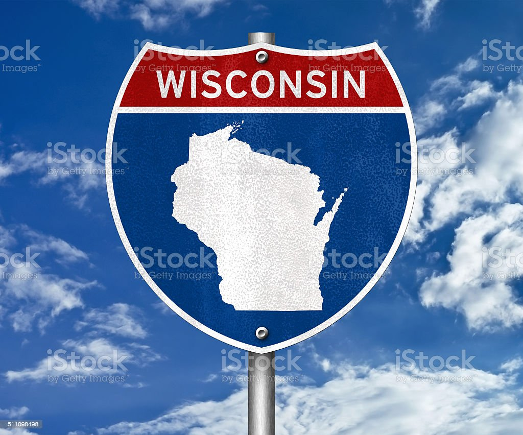 Wisconsin interstate sign concept stock photo