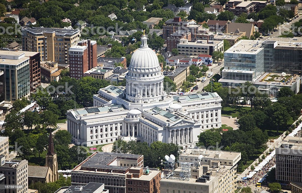 Wisconsin State Capital aerial view stock photo