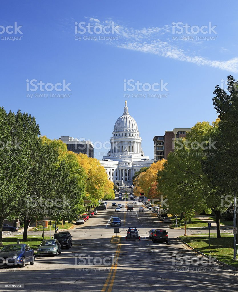Wisconsin state capitol and street traffic stock photo