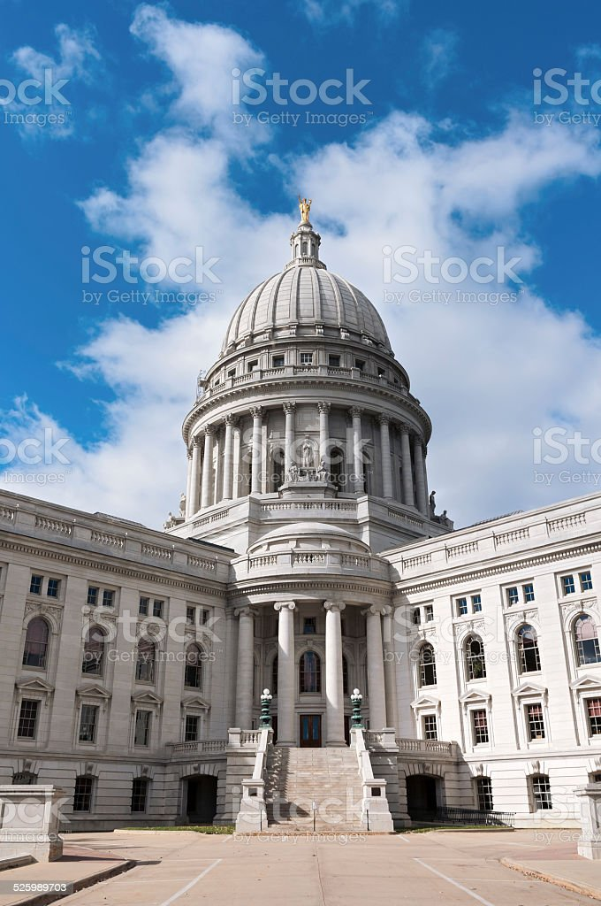Wisconsin State Capitol Dome and Entrance stock photo