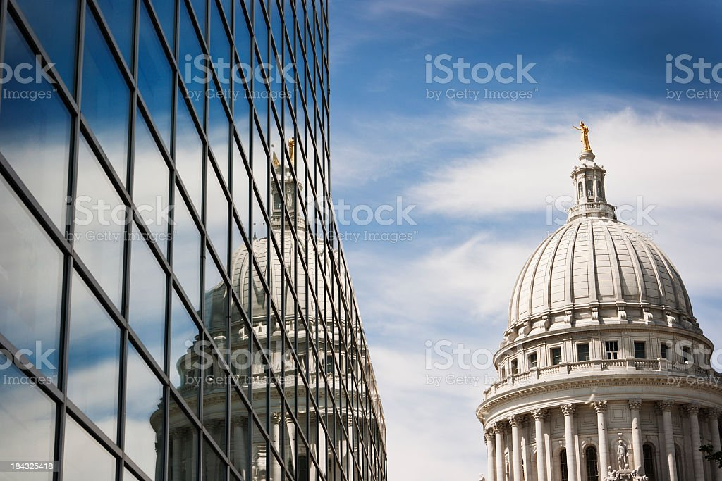Wisconsin State Capitol Dome Reflecting in Steel and Glass Building stock photo