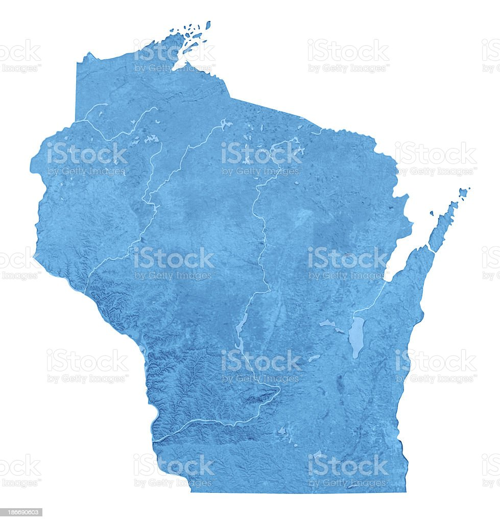Wisconsin Topographic Map Isolated stock photo