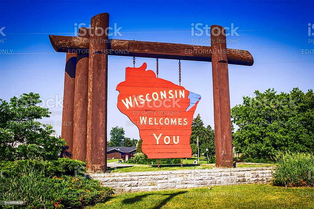 Wisconsin Welcome sign at Marinette WI stock photo