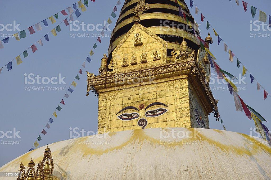 Wisdom eyes, Swayambhunath Monastery, Nepal royalty-free stock photo