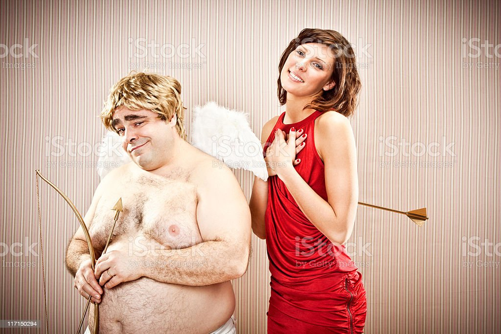 wise cupid fall in love with beautiful girl royalty-free stock photo