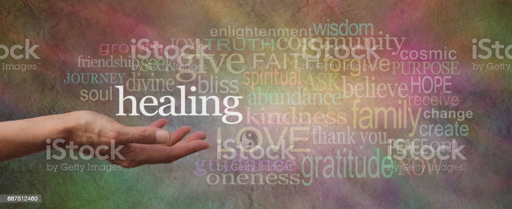 Wise Healing Words Parchment Website Header stock photo