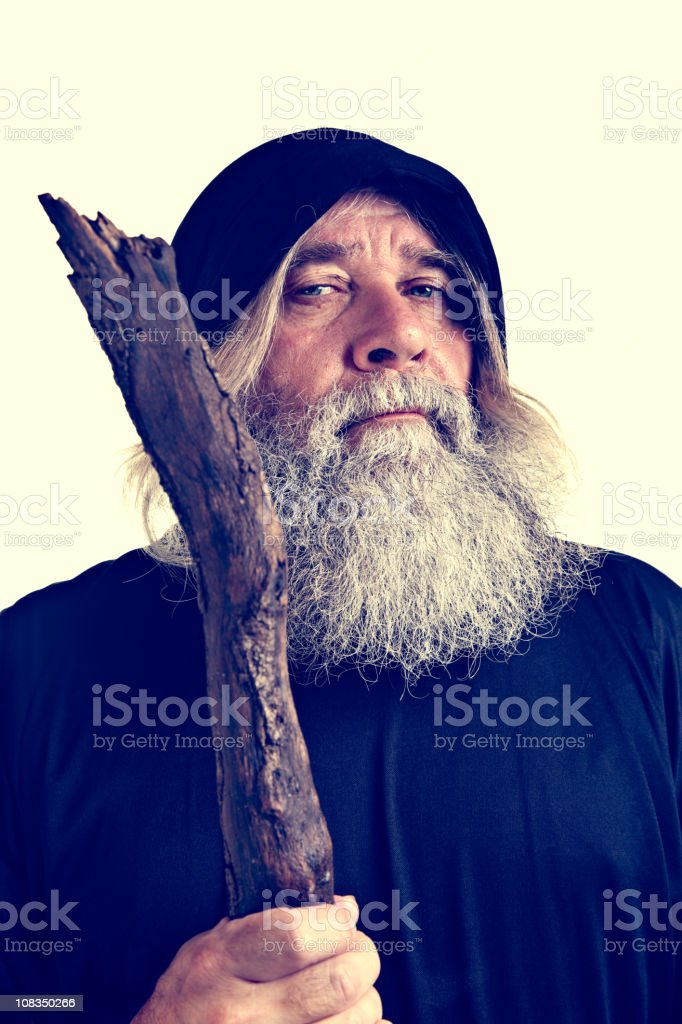 Wise Man With Staff stock photo