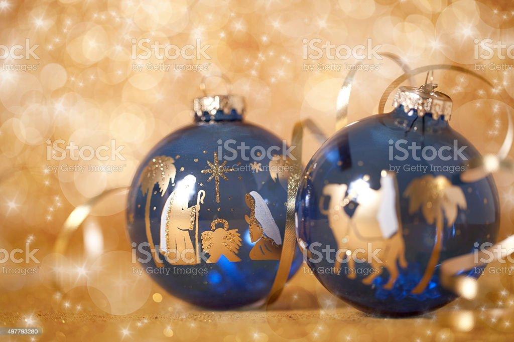 Wise Men Three Kings Nativity Scene Christmas Bauble on Gold stock photo