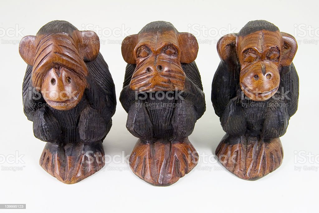 Wise monkeys that see, speak and hear no evil stock photo