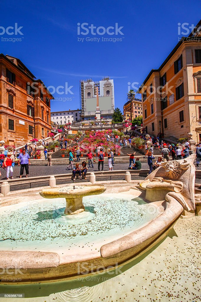 Wish fountain in front of Spanish Steps, Rome, Italy stock photo