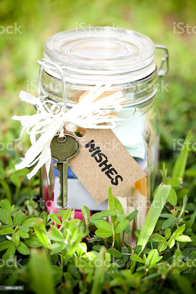 Wish Jar in Clover royalty-free stock photo