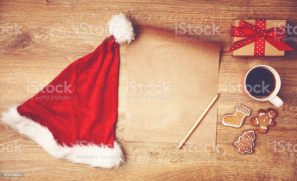 wish list for Christmas gifts and the presents stock photo
