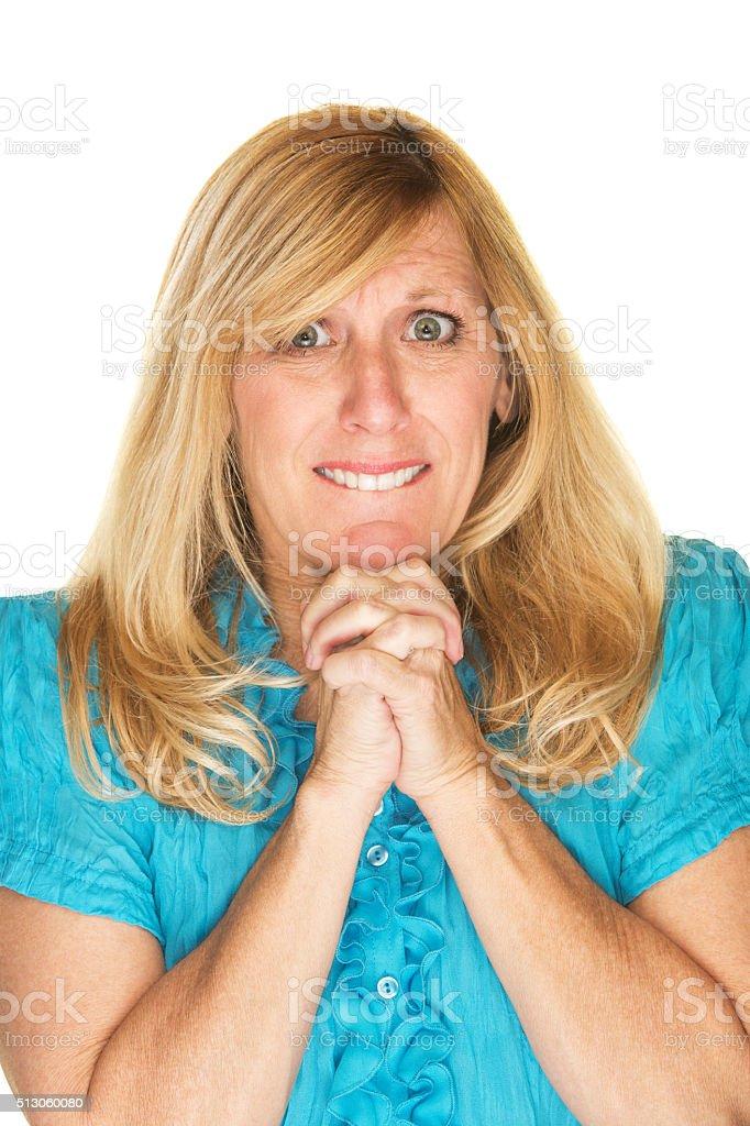 Wishful Woman Praying stock photo