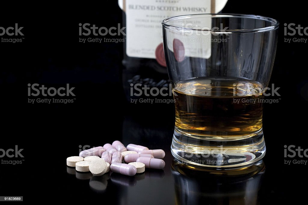 wiskey and drugs royalty-free stock photo