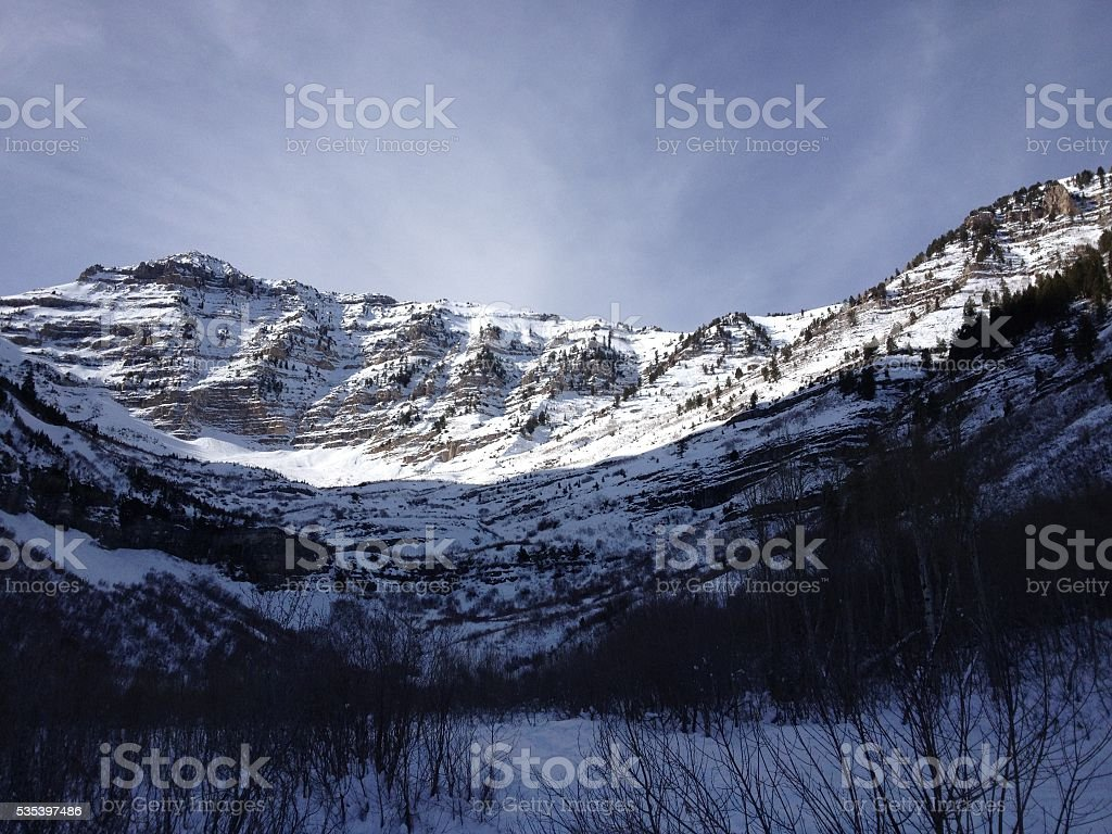 Wispy Clouds and the Wasatch Mountains Sundance Utah stock photo