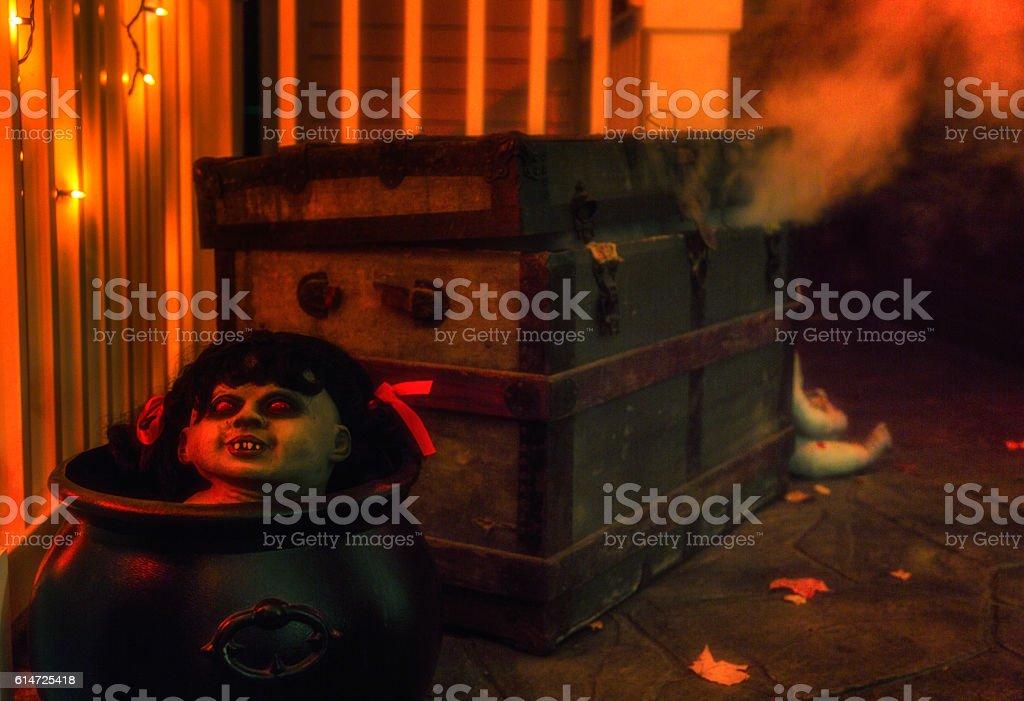 Wispy Putrid Smoke Seeping From Ancient Dilapidated Halloween Steamer Trunk stock photo