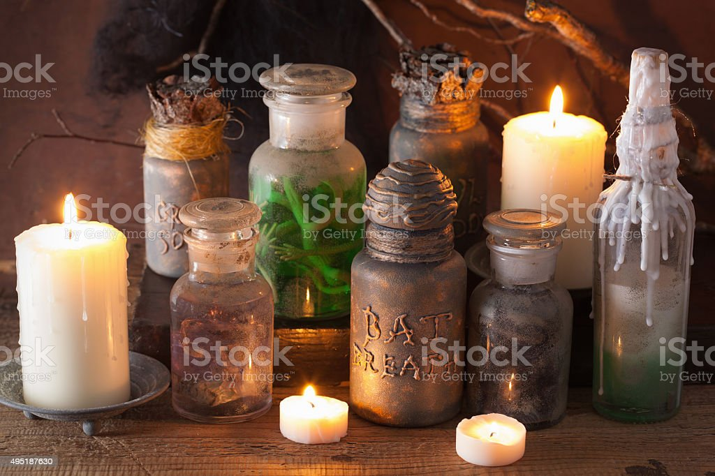 witch apothecary jars magic potions halloween decoration stock photo