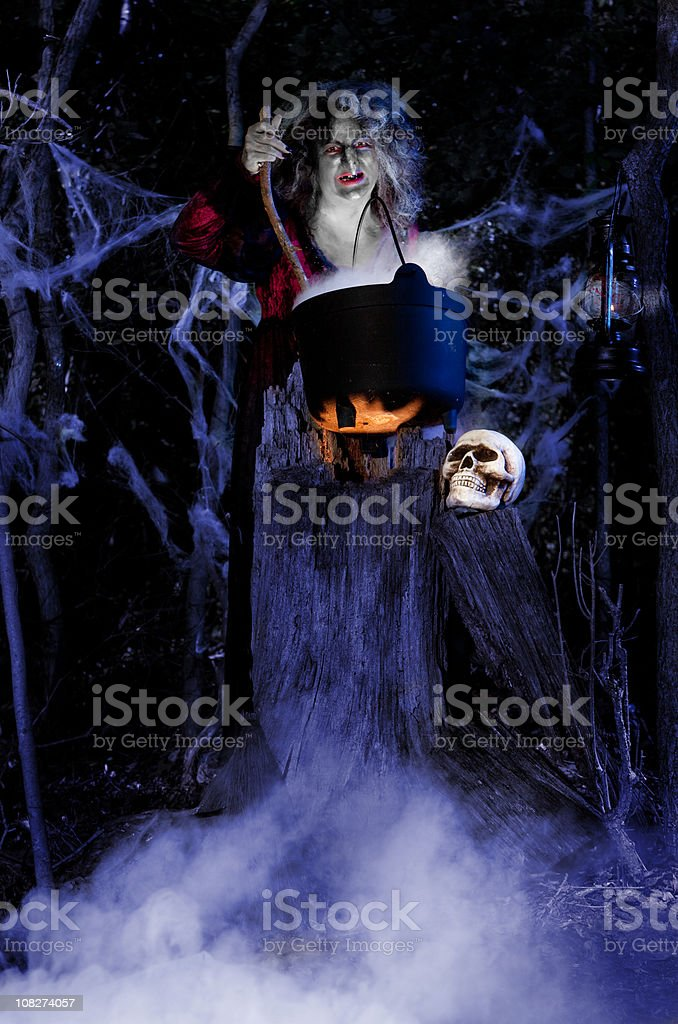 Witch Brewing her potion royalty-free stock photo