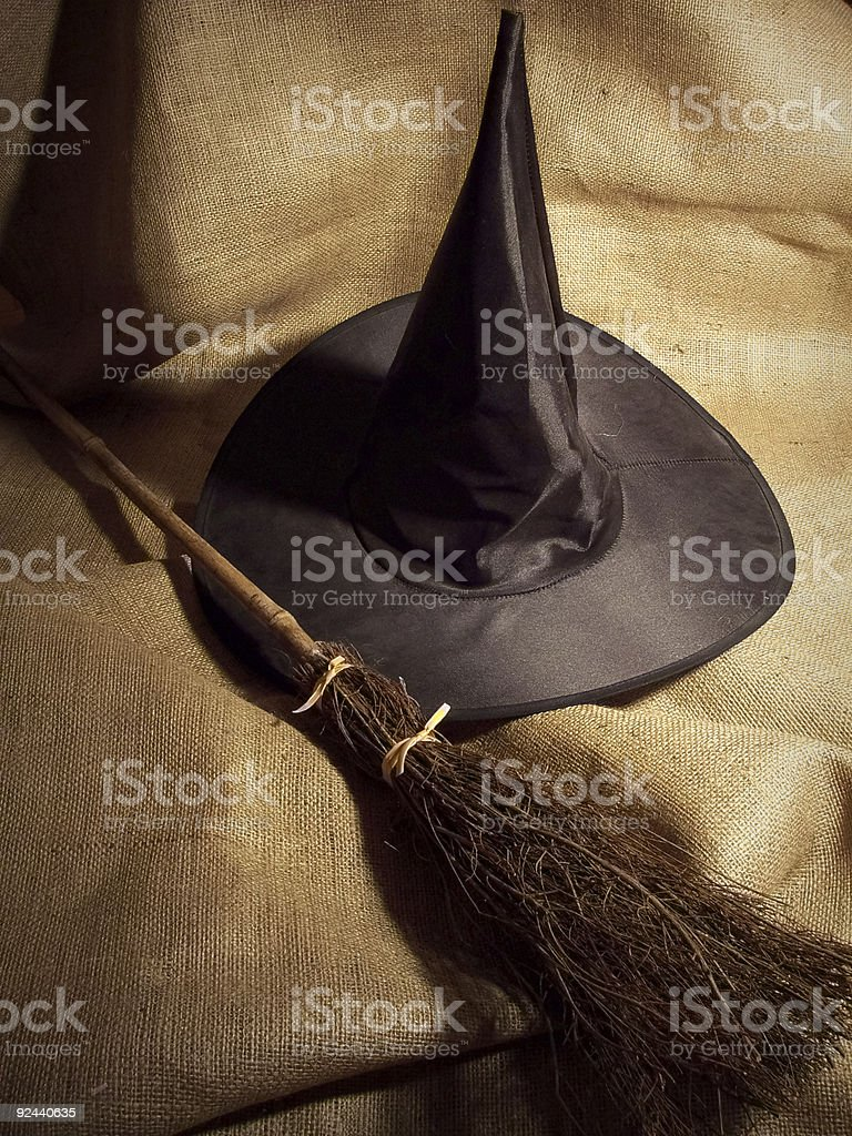 Witch Broom and Hat stock photo