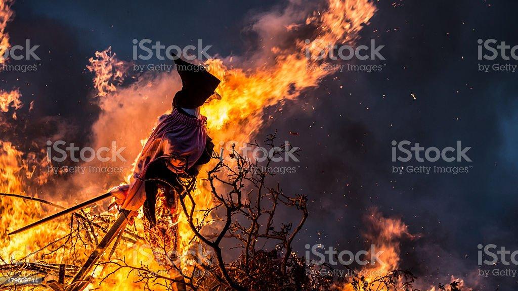 Witch Burning. stock photo