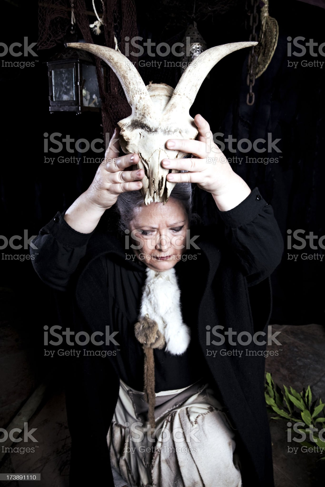 Witch casting a spell royalty-free stock photo