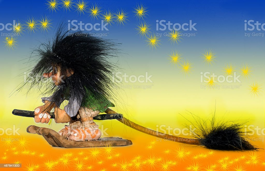 witch flying on her eco broom stock photo