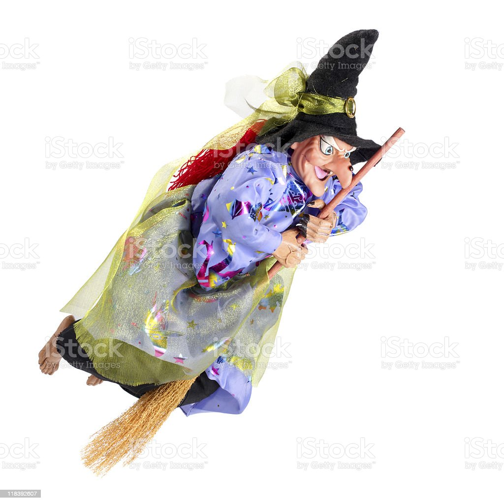Witch flying on the broom royalty-free stock photo