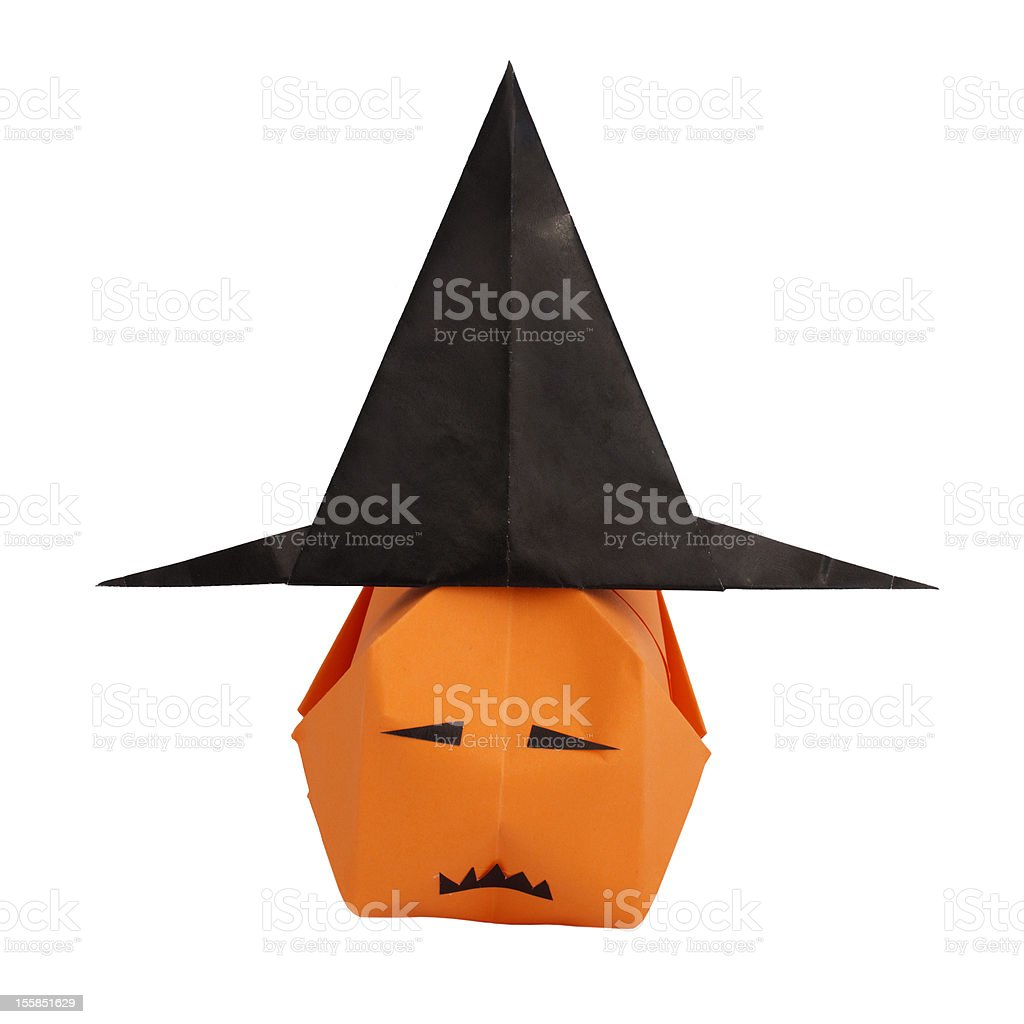 Witch hat and pumpkin royalty-free stock photo