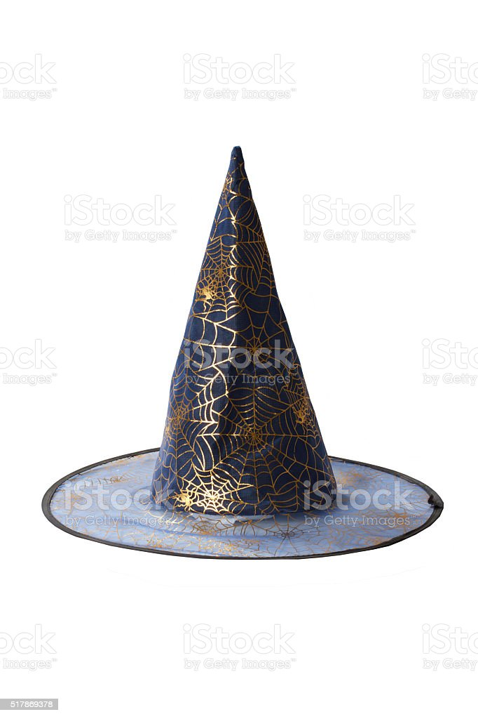 Witch hat isolated on white background stock photo
