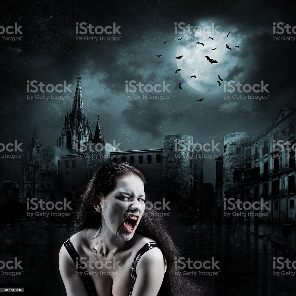 Witch in the empty town stock photo